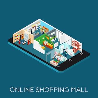 Icono isométrico de centro comercial en línea