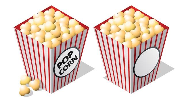 Icono isométrico de cine, cubo de palomitas de maíz a rayas