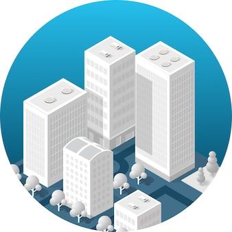 Icono isométrico de una ciudad.