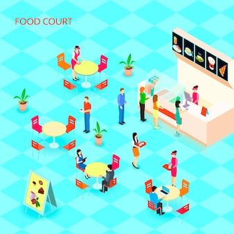 El icono isométrico coloreado de la comida rápida fijó con el patio de comidas en la alameda con la gente que come el ejemplo del vector