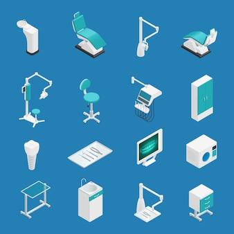 El icono isométrico coloreado de la odontología de la estomatología fijó con atributos y elementos para el ejemplo del vector del trabajo