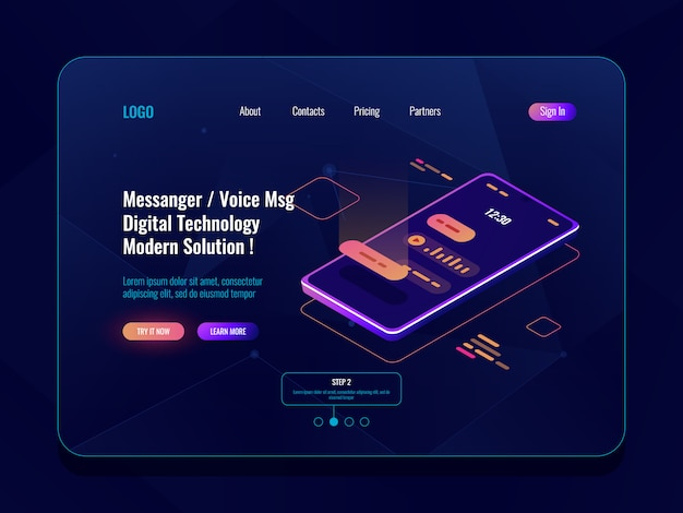 Icono isométrico del concepto de messenger de aplicaciones móviles, teléfono móvil con diálogo de sms en pantalla, chatbot
