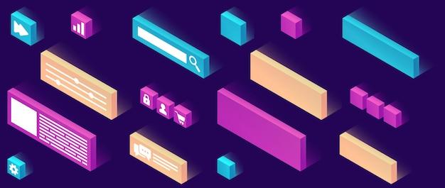 Icono isométrico de constructor de sitio web