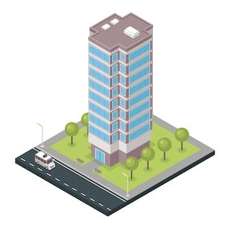 Icono isométrico del edificio de la ciudad