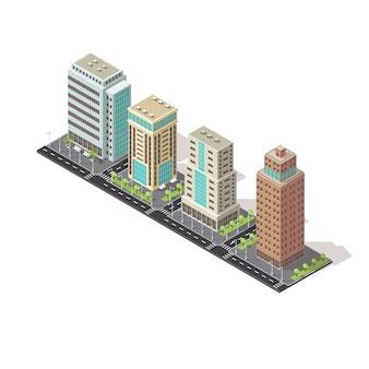 Icono isométrico de edificios de oficinas