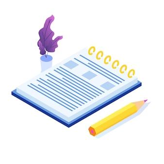 Icono isométrico de la escritura del diario. ilustración de estilo plano de vector.