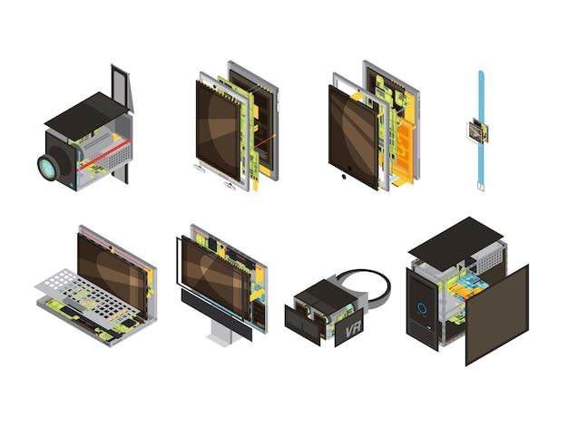 El icono isométrico del esquema coloreado de los artilugios fijó con las piezas de la reserva de la computadora y el microcircuito vector el ejemplo