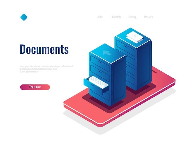 Icono isométrico de gestión de documentos, gabinete con documentos, administrador de archivos en línea, almacenamiento de datos en la nube