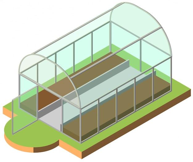 Icono isométrico de invernadero abierto 3d ilustración vectorial
