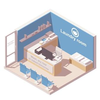 Icono isométrico de lavandería comercial