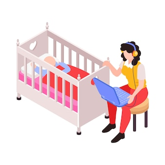 Icono isométrico con mamá trabajando en una computadora portátil mientras mece a su bebé en la ilustración de la cuna