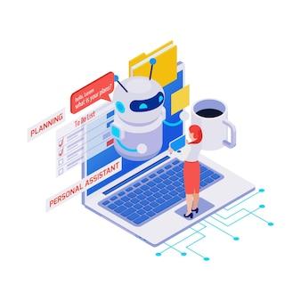 Icono isométrico con mujer usando asistente personal y aplicación de planificador en computadora portátil 3d