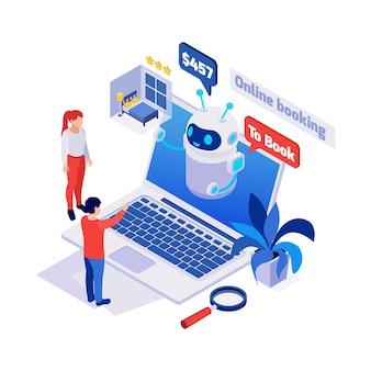 Icono isométrico con personas hablando con chatbot en el sitio web de reservas 3d