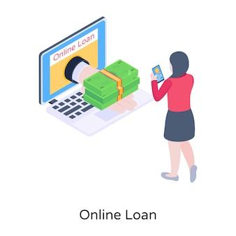 Icono isométrico de préstamo online con gráficos de alta calidad