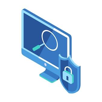 Icono isométrico que representa la búsqueda de forma segura que se muestra en el monitor