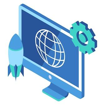 Icono isométrico que representa el cohete y el monitor de la computadora para mostrar el lanzamiento del producto del sitio web