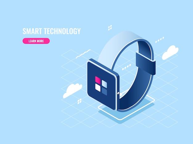 Icono isométrico de tecnología inteligente de reloj inteligente, dispositivo digital, aplicación móvil