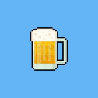 Icono de jarra de cerveza de dibujos animados de pixel art.