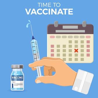 Icono de jeringa médica de plástico con vial de vacuna, aguja y gota en la mano del médico.