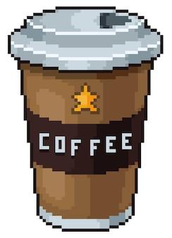 Icono de juego de bits de taza de café de pixel art