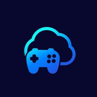 Icono de juego en la nube en la oscuridad