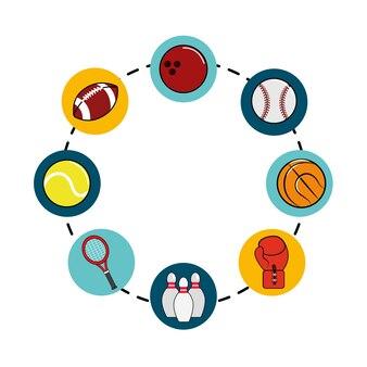 Icono de juegos de deporte de diferentes colores