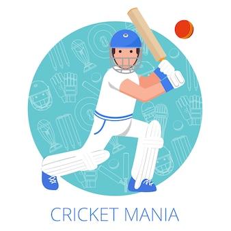 Icono de jugador de cricket cartel impreso plano