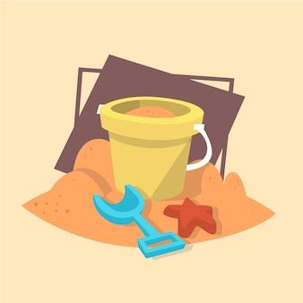 Icono de juguetes de playa concepto de vacaciones en el mar de verano vacaciones de verano