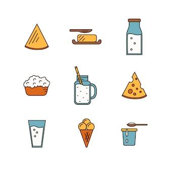 Icono de lácteos en estilo de línea
