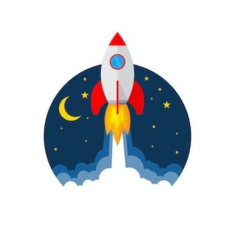 Icono de lanzamiento de cohete. ilustración.