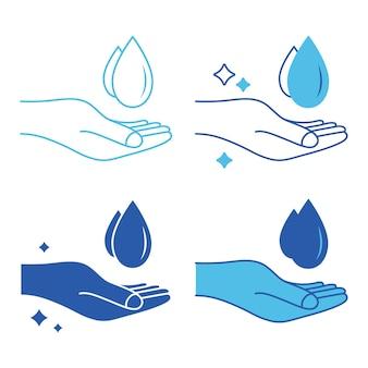 Icono de lavado de manos silueta de gota de agua y símbolo de contorno de mano prevención contra virus