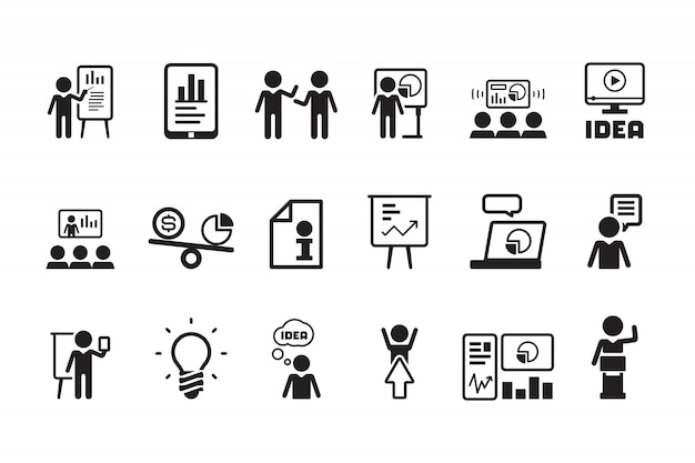 Icono de lección de negocios. presentación formación hablando eventos conferencias aula reunión personas símbolos pictograma