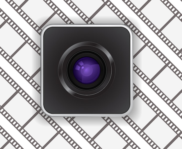 Icono de lente de cámara fotográfica sobre fondo de tira de película