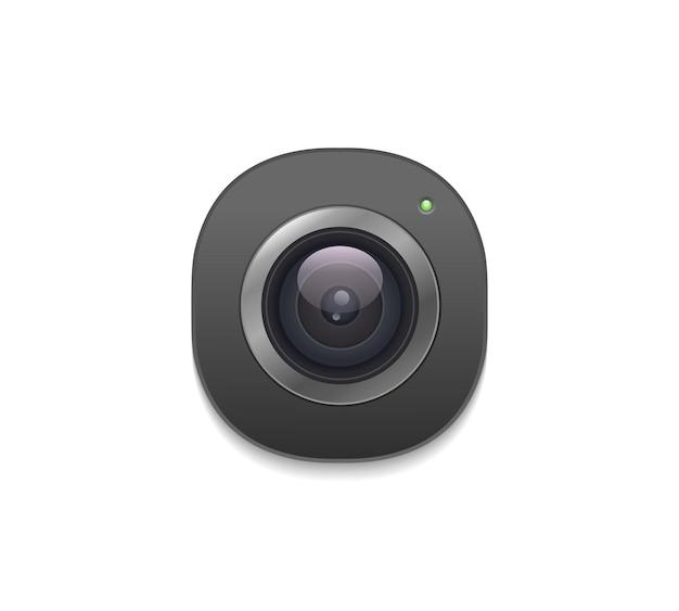 Icono de lente de cámara de fotos en estilo realista