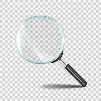 Icono de lente de zoom realista con vidrio transparente