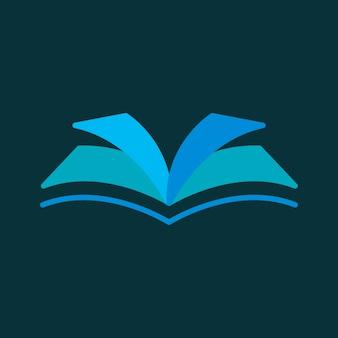 Icono de libro abierto, ilustración de vector de diseño plano de símbolo de educación