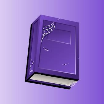 Icono de libro antiguo púrpura de halloween con telas de araña para juegos 2d