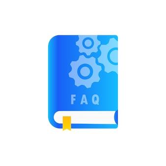Icono de libro de preguntas frecuentes de la guía del usuario. libro de guía del usuario. ilustración de vector plano.