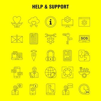 Icono de línea de ayuda y soporte