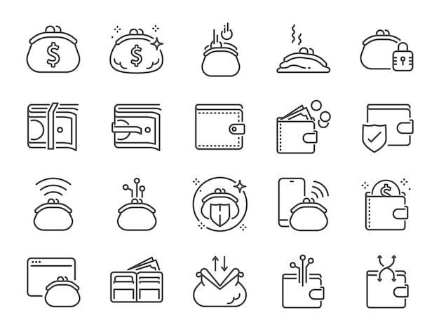 Icono de línea de billetera