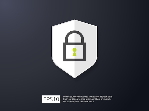 Icono de línea de bloqueo de escudo, concepto de banner de seguridad de internet vpn