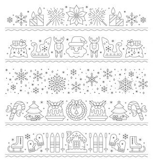 Icono de línea de borde de navidad, año nuevo, conjunto de patrones de cadena de navidad, guirnalda de fiesta de rayas, tarjeta.