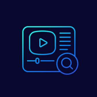 Icono de línea de búsqueda de video para aplicaciones