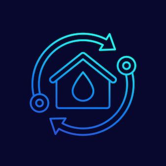 Icono de línea de casa y agua con flechas