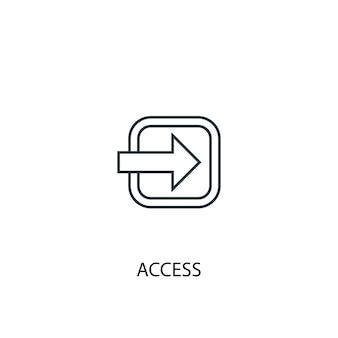 Icono de línea de concepto de acceso. ilustración de elemento simple. diseño de símbolo de esquema de concepto de acceso. se puede utilizar para ui / ux web y móvil