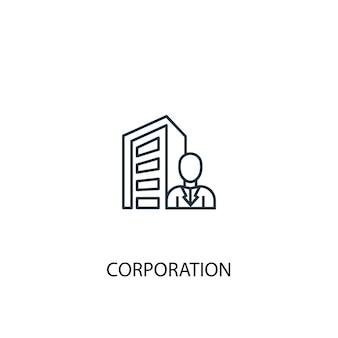 Icono de línea de concepto de orporation. ilustración de elemento simple. ñ diseño de símbolo de esquema de concepto de orporation. se puede utilizar para ui / ux web y móvil
