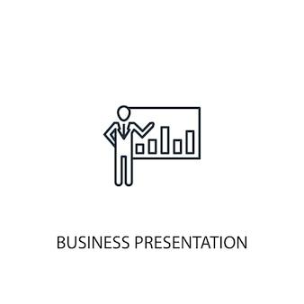 Icono de línea de concepto de presentación de negocios. ilustración de elemento simple. diseño de símbolo de esquema de concepto de presentación de negocios. se puede utilizar para ui / ux web y móvil