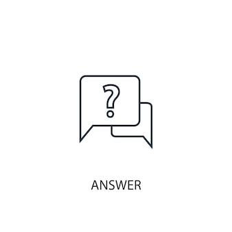 Icono de línea de concepto de respuesta. ilustración de elemento simple. diseño de símbolo de esquema de concepto de respuesta. se puede utilizar para ui / ux web y móvil