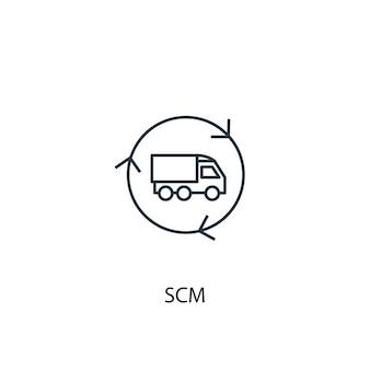 Icono de línea de concepto de scm. ilustración de elemento simple. diseño de símbolo de esquema de concepto de scm. se puede utilizar para ui / ux web y móvil