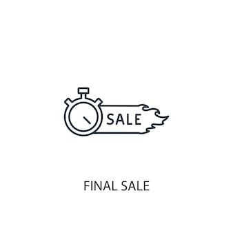 Icono de línea de concepto de venta final. ilustración de elemento simple. diseño de símbolo de esquema de concepto de venta final. se puede utilizar para ui / ux web y móvil